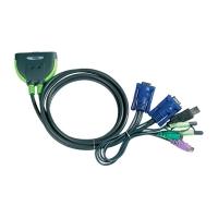 Переключатель KVM ATEN CS-521 MINI KVM Switch 2 порта USB/PS2, кабели в комплекте 1.2 метра (CS521)