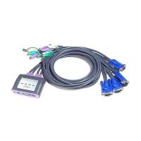 Переключатель KVM ATEN CS-64A MINI CABLE KVM Switch 4 порта, кабели встроенные в комплекте