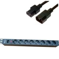 """Блок силовых розеток в стойку 19"""" NR-PDU8-50U, 16А, кабель 5м., подкл. к UPS, 8 розеток,1U, Negorack"""
